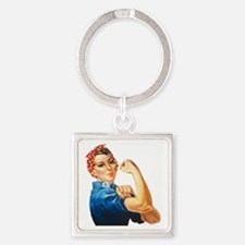 Cute We can do it Square Keychain