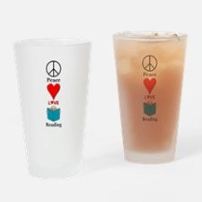 Peace Love Reading Drinking Glass