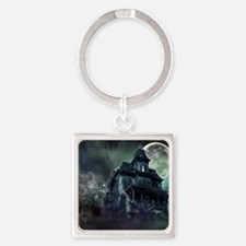 The Haunted House Square Keychain