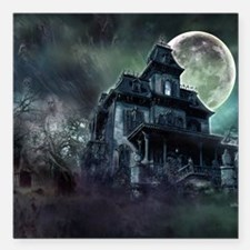 "The Haunted House Square Car Magnet 3"" x 3"""
