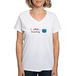 I Love Reading Women's V-Neck T-Shirt