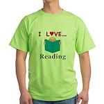 I Love Reading Green T-Shirt