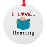 I Love Reading Round Ornament