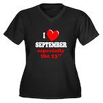 September 23rd Women's Plus Size V-Neck Dark T-Shi