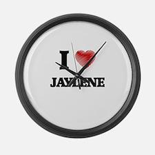 I Love Jaylene Large Wall Clock