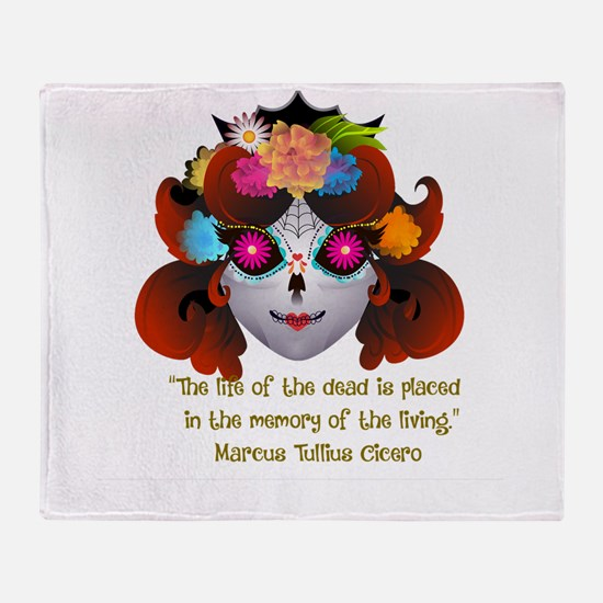 Sugar Skull with Quote Throw Blanket