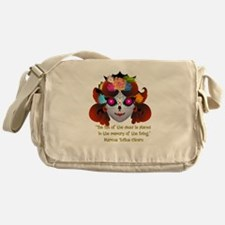 Sugar Skull with Quote Messenger Bag