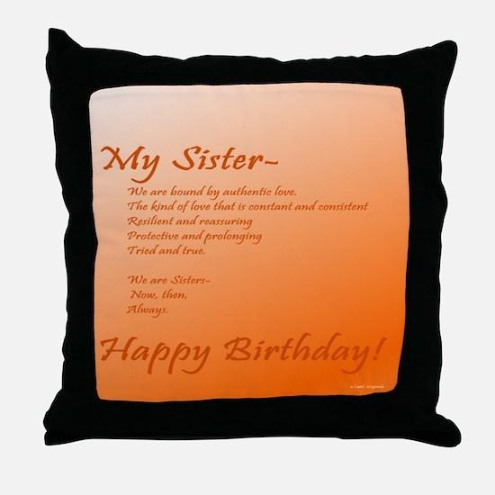 Special Sister Birthday Treasure Memo Throw Pillow