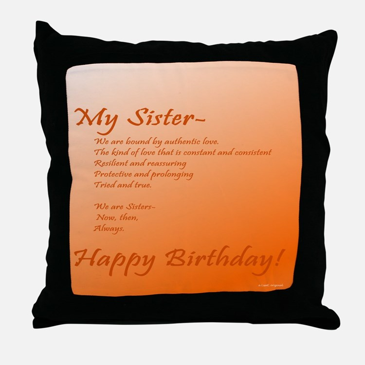 Special Sister Birthday Treasure Memo Throw Pillow