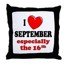 September 16th Throw Pillow