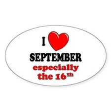 September 16th Oval Decal