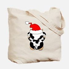 Cartoon Cow Santa Tote Bag