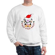 Cartoon Cow Santa Sweatshirt
