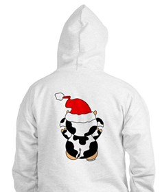 Cartoon Cow Santa Hoodie