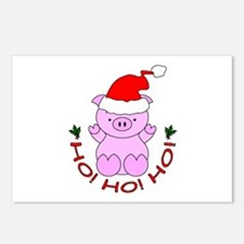 Cartoon Pig Santa Postcards (Package of 8)
