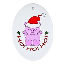 Cartoon Pig Santa Ornament (Oval)