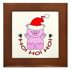 Cartoon Pig Santa Framed Tile