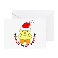 Cartoon Chicken Santa Greeting Card