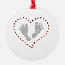 Funny Heart footprints Ornament