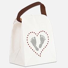 Cute Heart footprints Canvas Lunch Bag