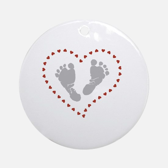 Cute Footprint Round Ornament