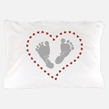Baby Footprints in Heart of Hearts Pillow Case