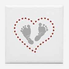Baby Footprints in Heart of Hearts Tile Coaster