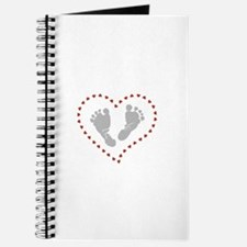 Baby Footprints in Heart of Hearts Journal
