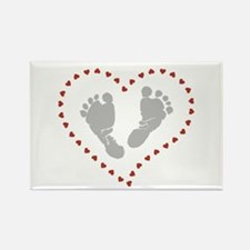 Baby Footprints in Heart of Hearts Magnets
