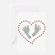 Baby Footprints in Heart of Hearts Greeting Cards