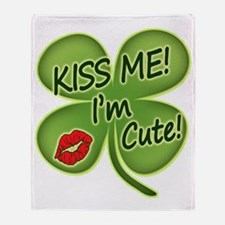Cute Kiss me i%27m irish Throw Blanket