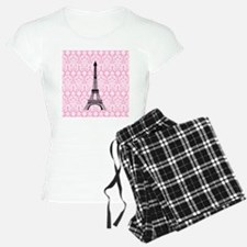 Eiffel Tower on Pink Damask Pajamas