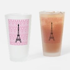 Eiffel Tower on Pink Damask Drinking Glass