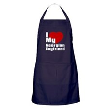 I Love My Georgian Boyfriend Apron (dark)