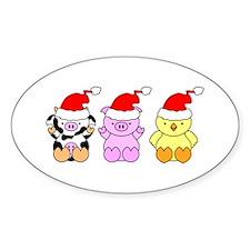 Cow, Pig & Chicken Santas Decal