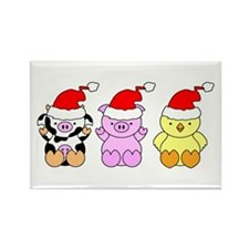 Cow, Pig & Chicken Santas Rectangle Magnet