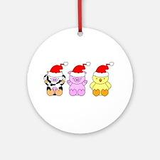 Cow, Pig & Chicken Santas Ornament (Round)
