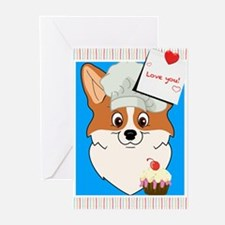 Cartoon Corgi with Cupcake Greeting Cards