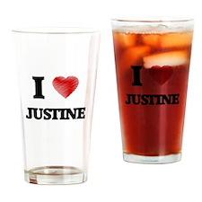 I Love Justine Drinking Glass