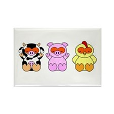Halloween Cow, Pig & Chicken Rectangle Magnet
