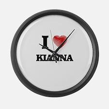 I Love Kianna Large Wall Clock