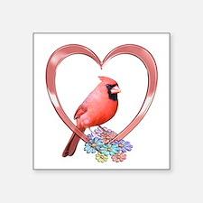 "Unique Cardinal bird Square Sticker 3"" x 3"""