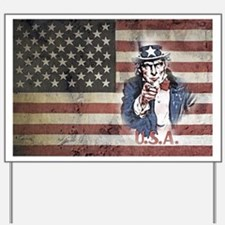US Flag and Uncle Sam Yard Sign