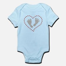 Baby Footprints in Heart of Hearts Body Suit