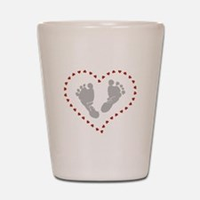 Baby Footprints in Heart of Hearts Shot Glass