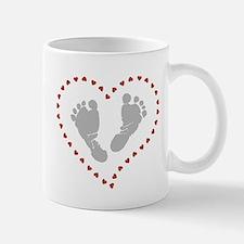 Baby Footprints in Heart of Hearts Mugs