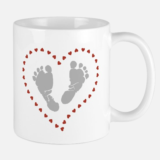 Baby Footprints in Heart of Hearts Mugs