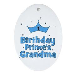 1st Birthday Prince's Grandma Oval Ornament