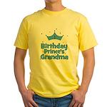 1st Birthday Prince's Grandma Yellow T-Shirt