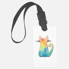 Watercolor Tie-Dye Cat Luggage Tag